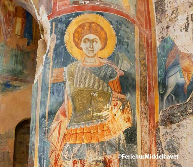 fresco of disiple of Jesus in church by Esentepe north cyprus from Byzantic times.